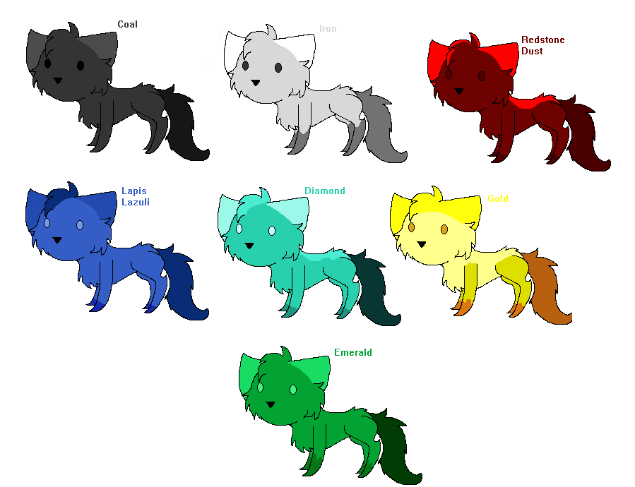 Minecraft ore based chibi cat adopts by helkie three