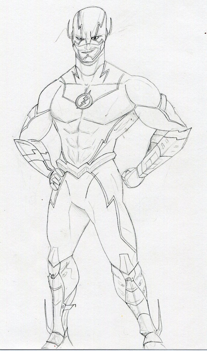 The Flash Line Art : Justice league redesign the flash by datjiveturkey on