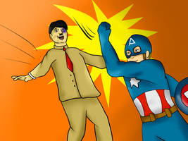 captain America Punching Hitler In the face by Envy-is-my-god