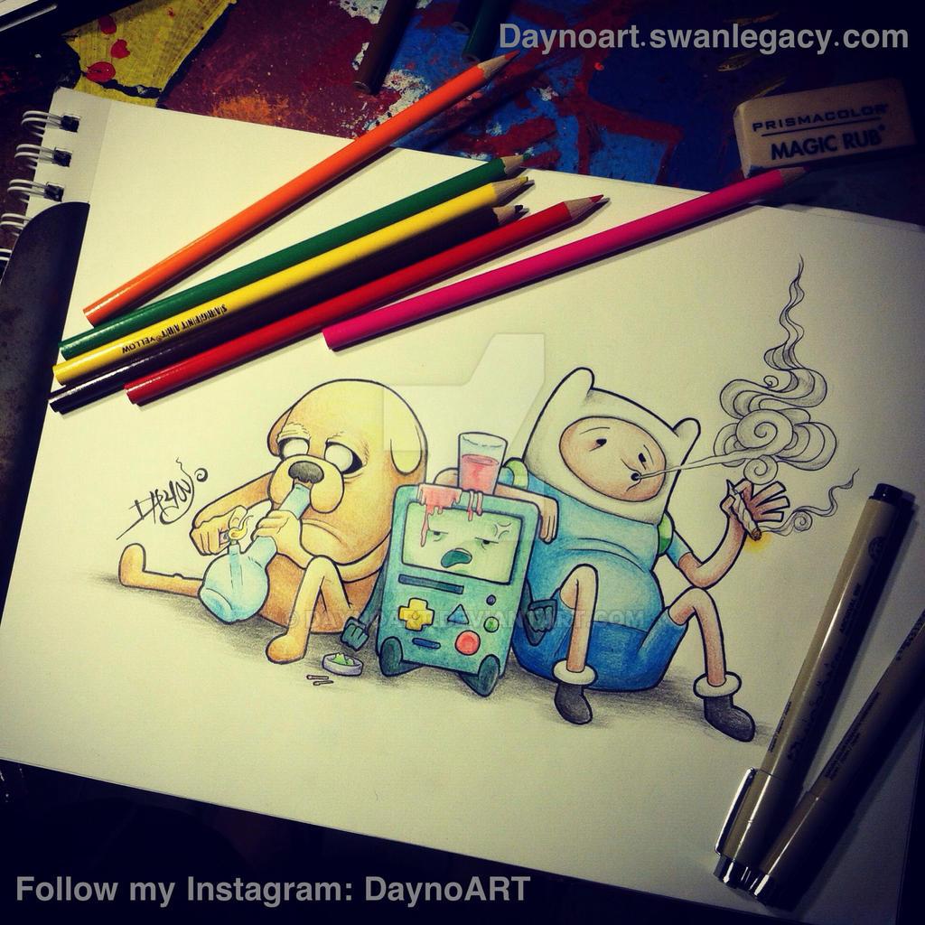 Jake And Finn Stoner Doodle By Daynoart On Deviantart