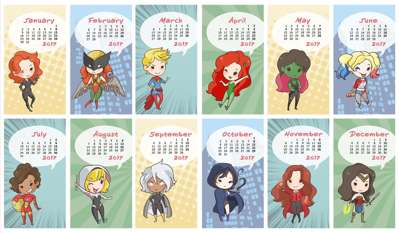 2017 Heroines Wallpaper Calendar By Fufunha 2017 Heroines Wallpaper Calendar  By Fufunha
