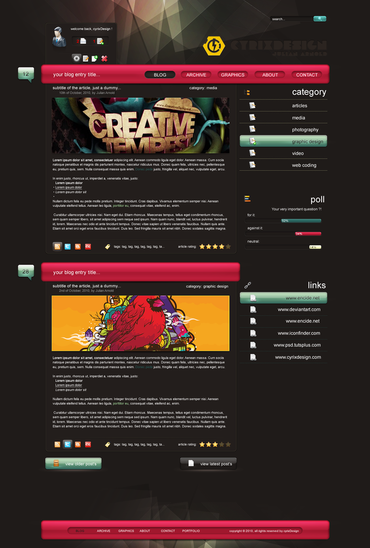 blog layout wordpress by cyrixdesign d31varz Web Interface Showcase: Effective & Clear Web Designs