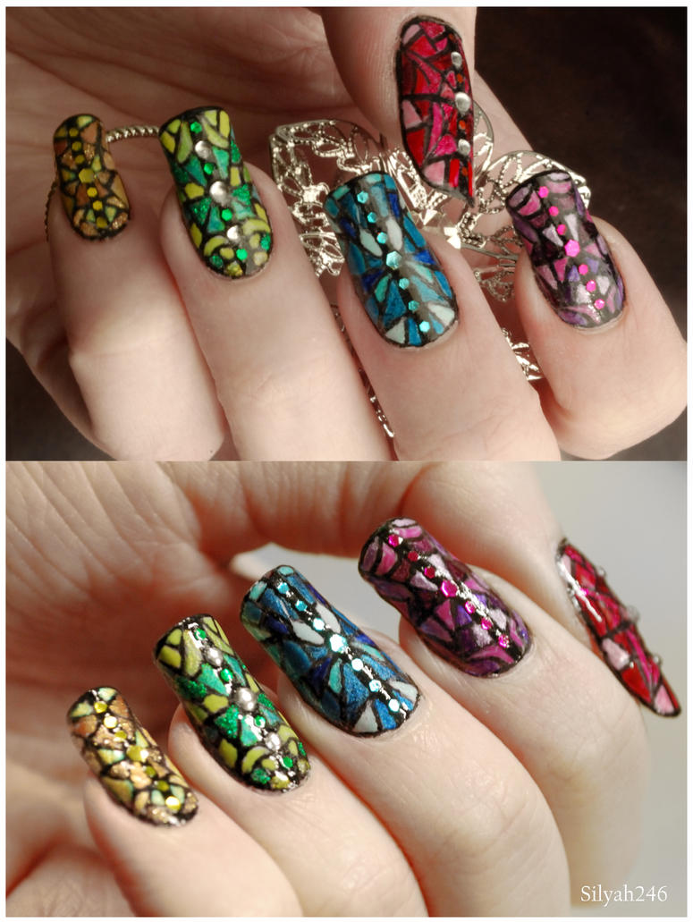 Stained Glass Nail Art by Silyah246 on DeviantArt