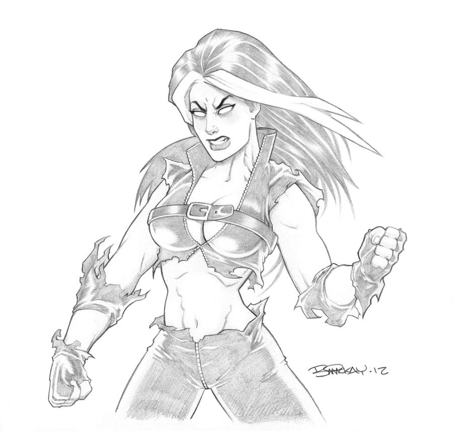 Red She Hulk Pencil Sketch By BillMcKay