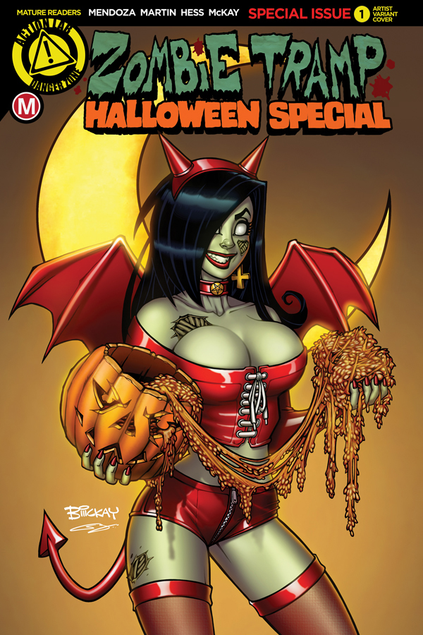 Zombie Tramp Halloween Special Cover E with Logo by BillMcKay