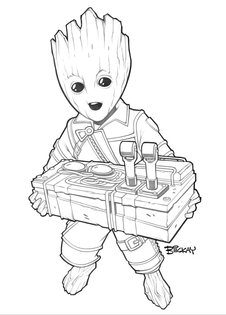 Baby groot badge art lines by billmckay on deviantart for Groot coloring pages