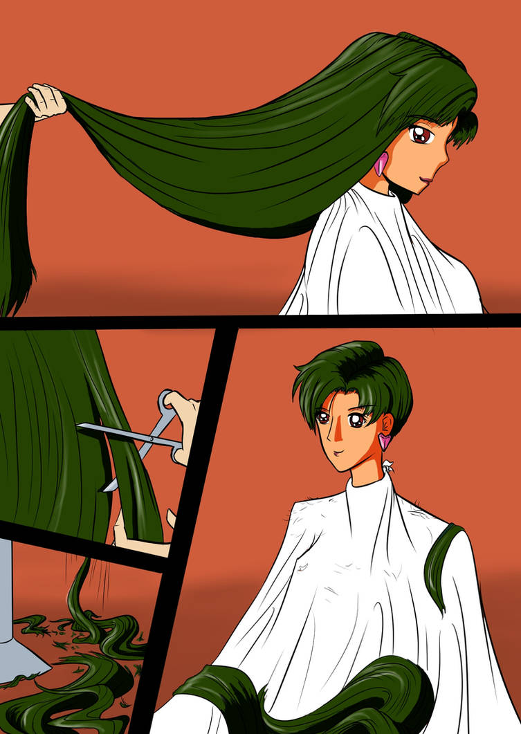 sailor pluto gets a short haircut by danielwartist on