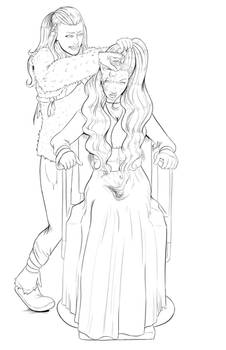 Ygritte Shaves Cersei Lannister (lineart)