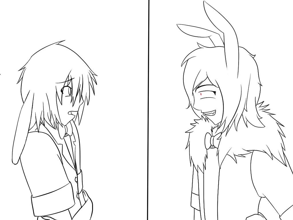 Fnaf bonbon isthatreallyme linework wip by shinkou for Fnaf anime coloring pages