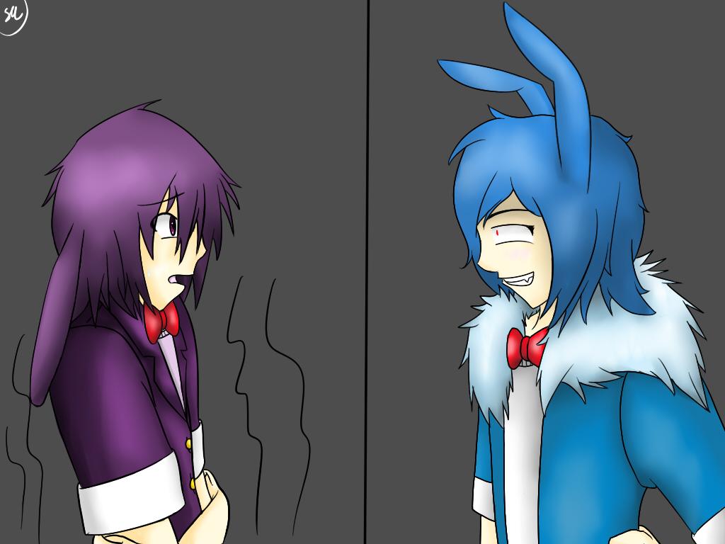FNaF:Bonnie vs BonBon-IsThatReallyMe? [speedpaint] by Shinkou-san