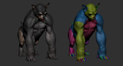 Creature topology for The Silverback Chihuahua