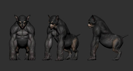 Concept of a chihuahua and gorilla mixed creature