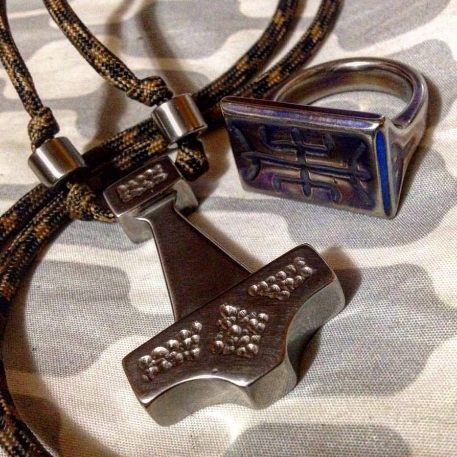 Mithril Ring Of Algiz And Mjolnir Thor By Wolfie 83