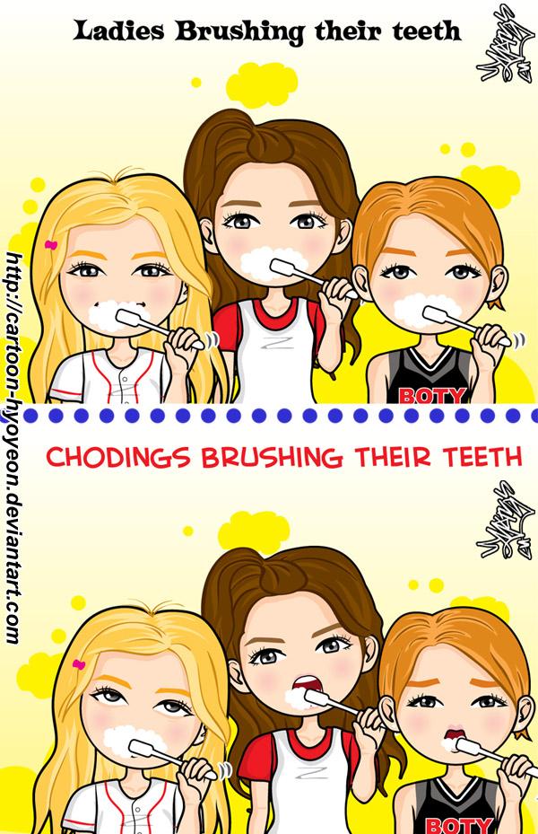 Brushing teeth- Ladies VS chodings by cartoon-hyoyeon