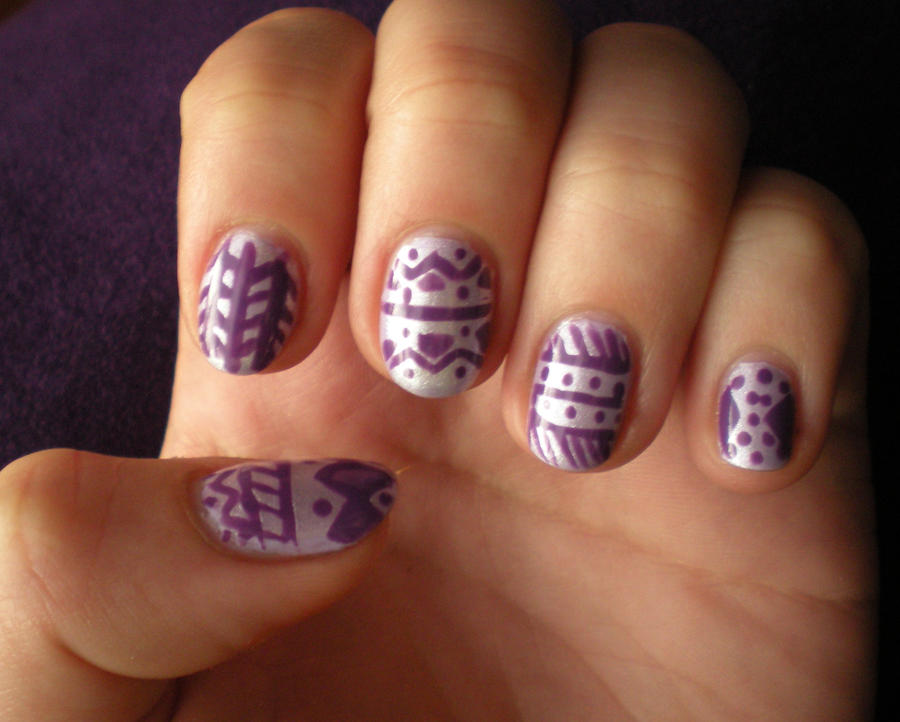 Purple Tribal Nail Art By Thenailadventure On Deviantart