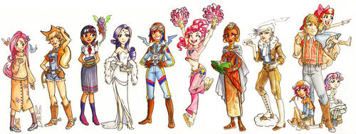 My Little Pony Girls 1 Color by gambitgurlisis