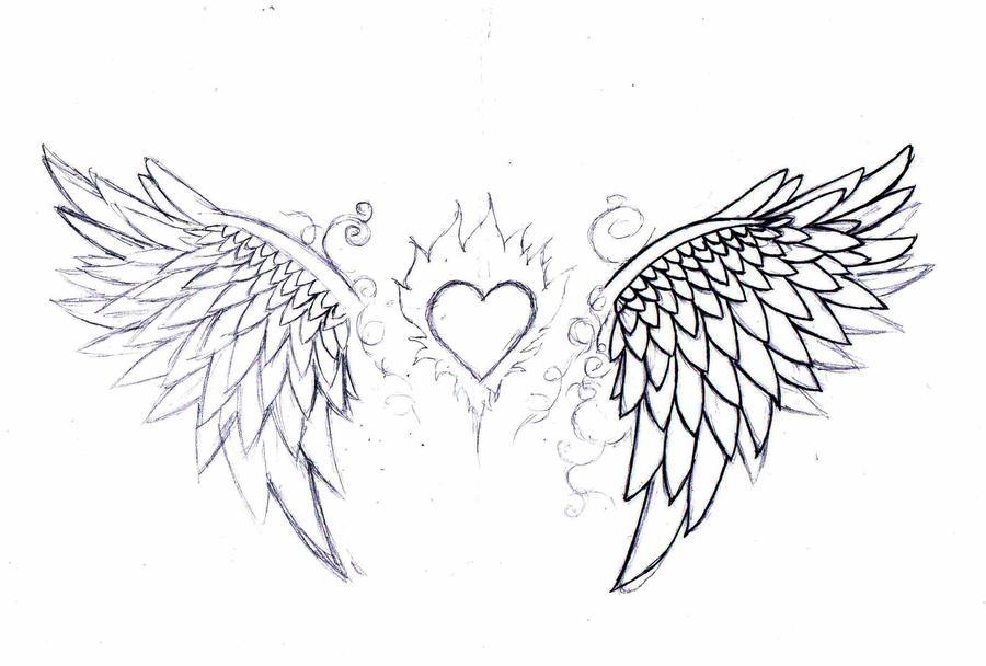 wip:angel wings tattoo design