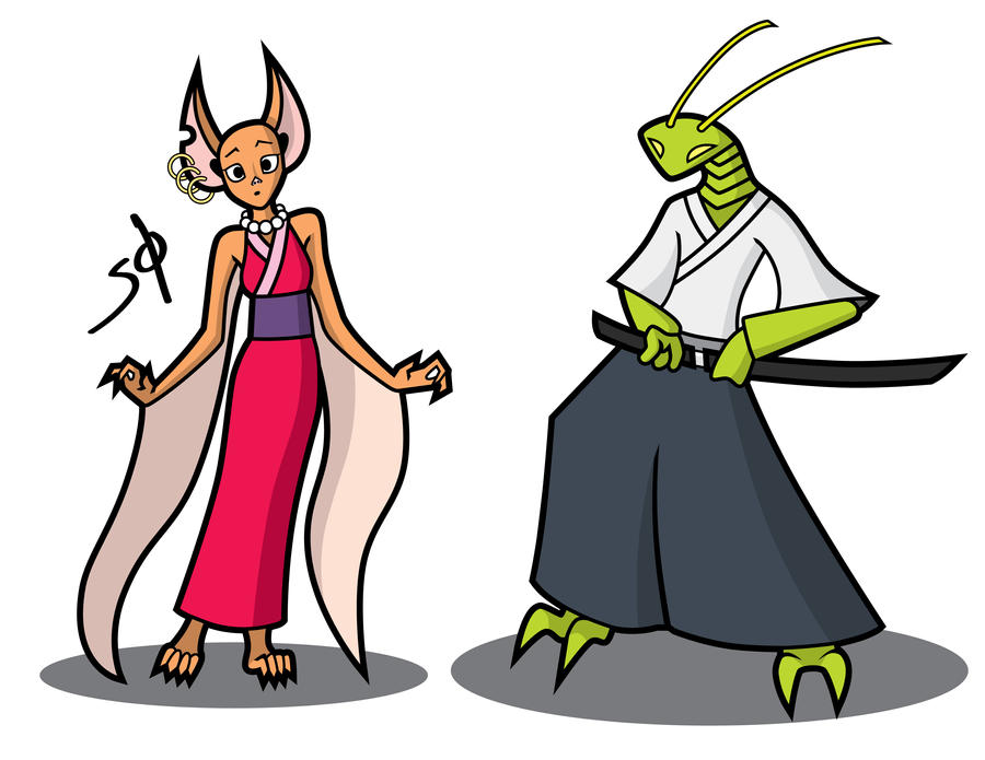 Critters in Kimonos by KoompasStuff