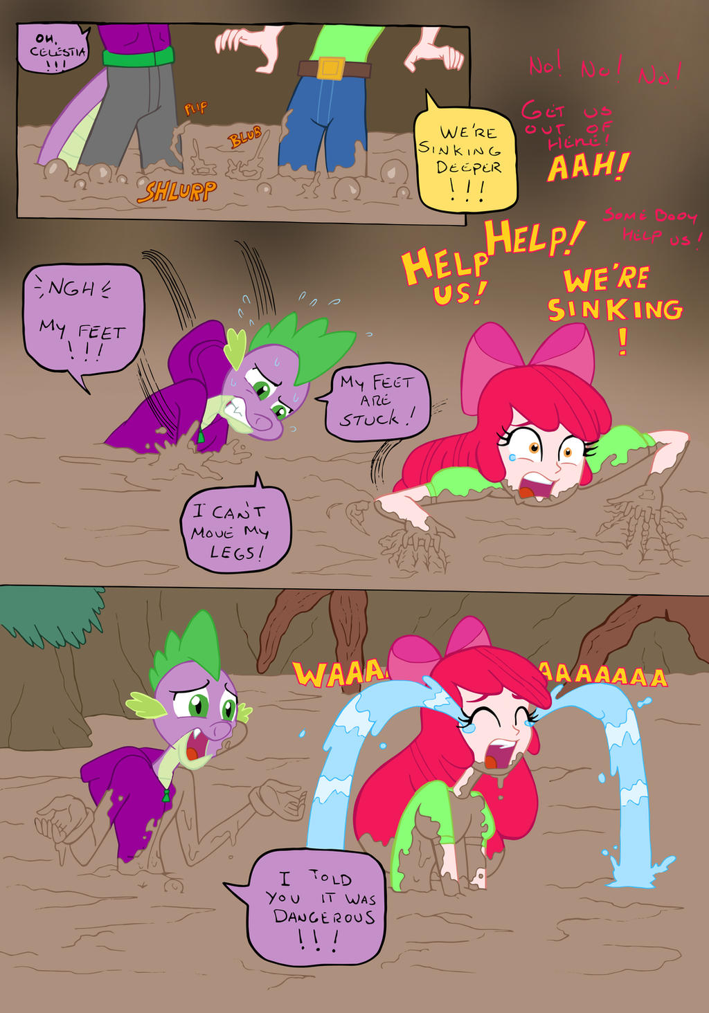 apple bloom and spike fun in the mud pg 4 by edcom02 on