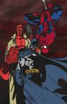 Batman, Spider-Man and Hellboy