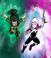 Marvel x MHA - Froppy and Spider-Gwen by edCOM02