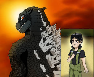 Godzilla and Miki by edCOM02
