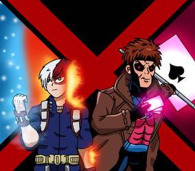 MHA/X-Men - Todoroki and Gambit by edCOM02