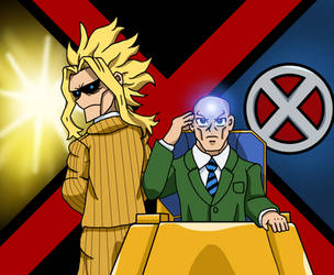 MHA/X-Men - All Might and Professor X by edCOM02