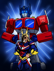 Symbols of Peace! All Might and Optimus Prime by edCOM02