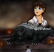 Shinji and Godzilla
