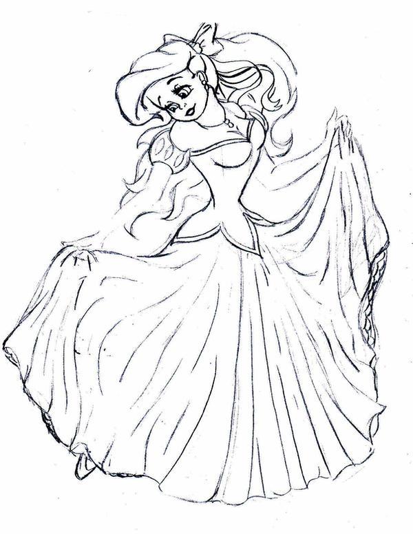 How to draw ariel dress
