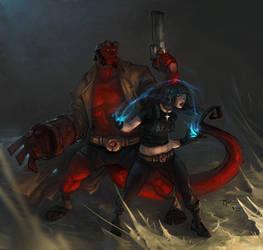 Hellboy and Liz by johnnyrocwell