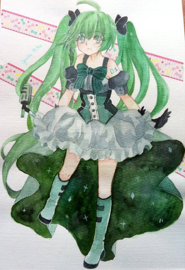 Green Miku by ChocoWaffle712