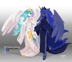 Princess Celestia and Princess Luna by TysonTan