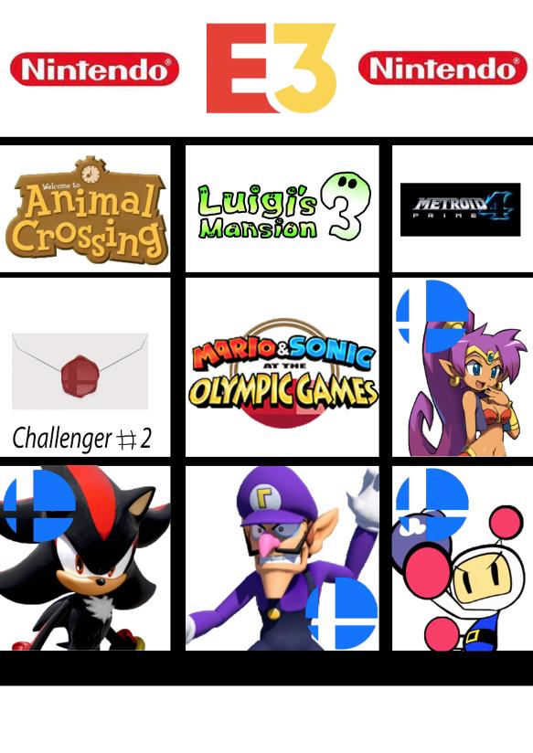 E3 Nintendo Direct 2019 Bingo Card by WaluigiFangirl9713 on DeviantArt