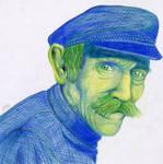 old man portrait colorpencil