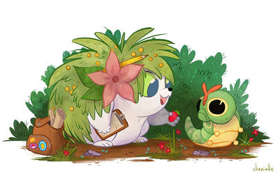 Shaymin and Caterpie by doingwell