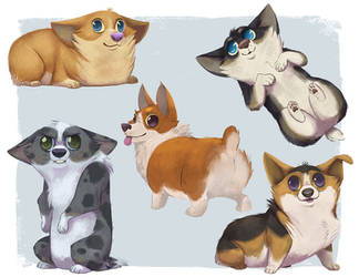 Silly Corgis by doingwell