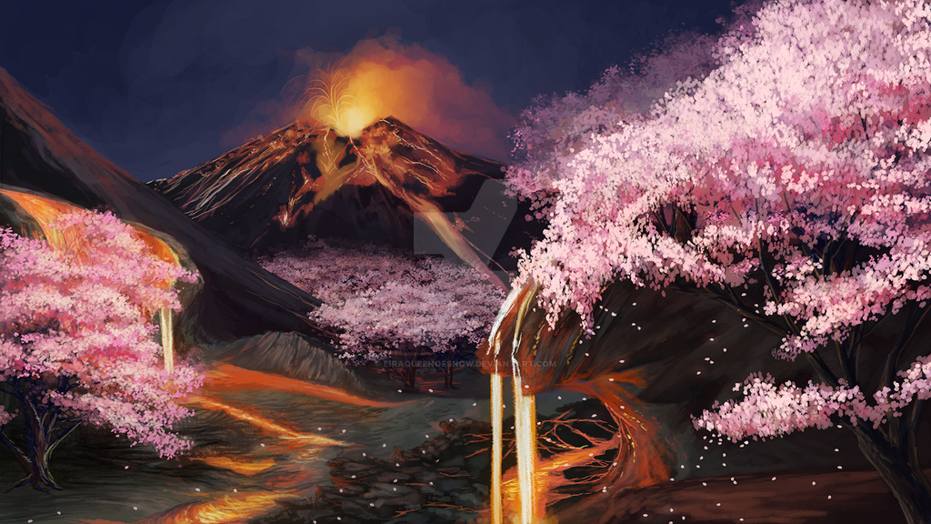 Lava Scene With Cherry Blossoms By Eiraqueenofsnow On
