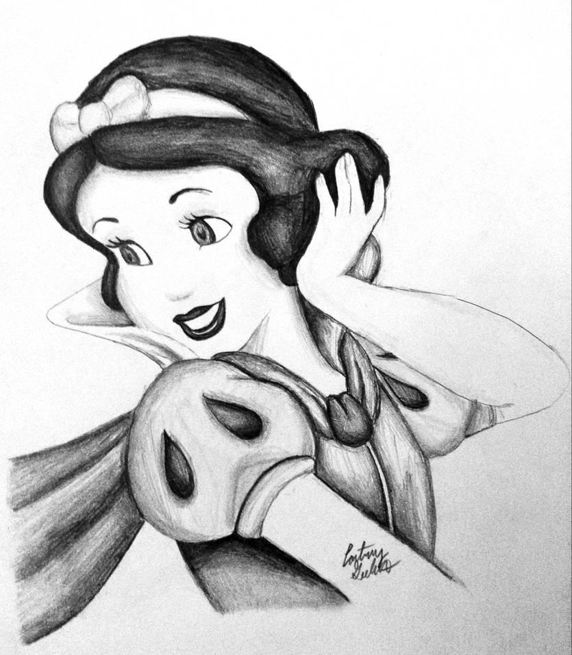 Snow white pencil drawing by artbycourtneyg on deviantart