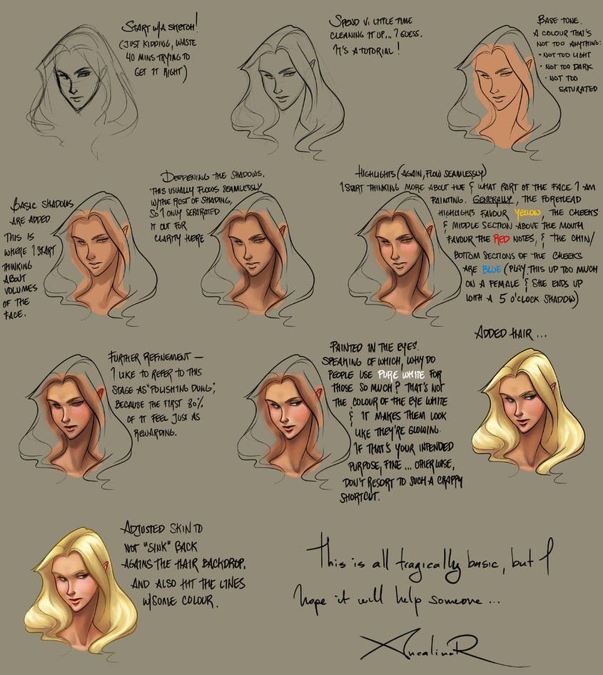 tutorial on how i shade faces by ancalinar on deviantart