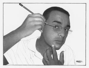 'Self Almost Portrait' Graphite Drawing