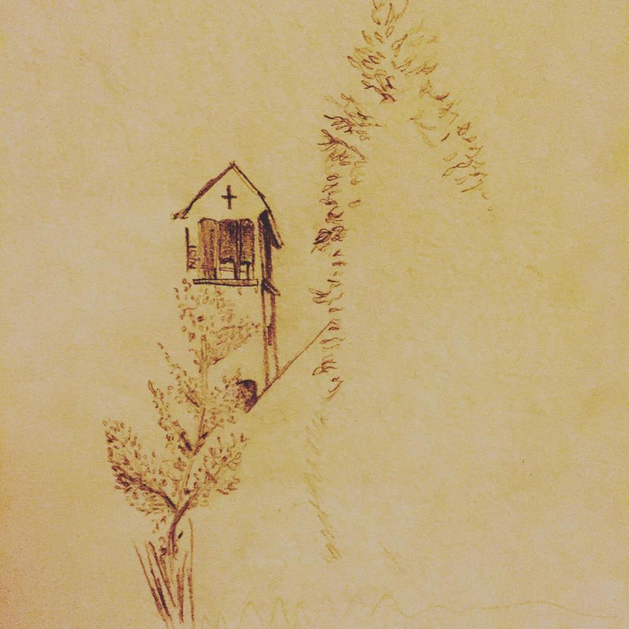 church and tree by secretandrose