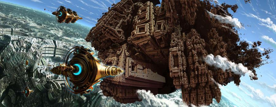 aztec flying city by loboto