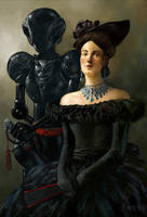Lady with robot by loboto