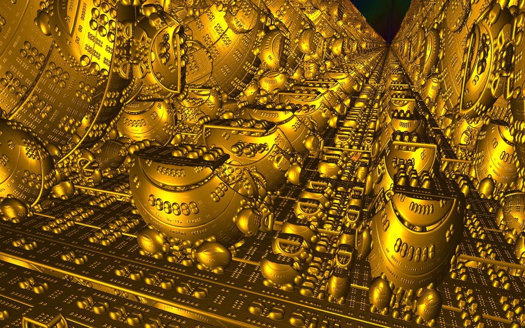 Raytraced Mandelbox Death Star's Trench by mcsoftware