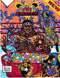 CWF Colossal Wrestling Federation Cereal Box.