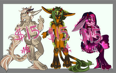 Sauros Adoptables- $15 each (CLOSED) by DarkBullet777