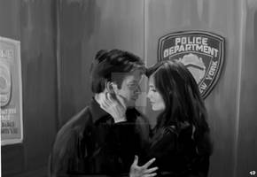 Castle and Beckett in the Elevator