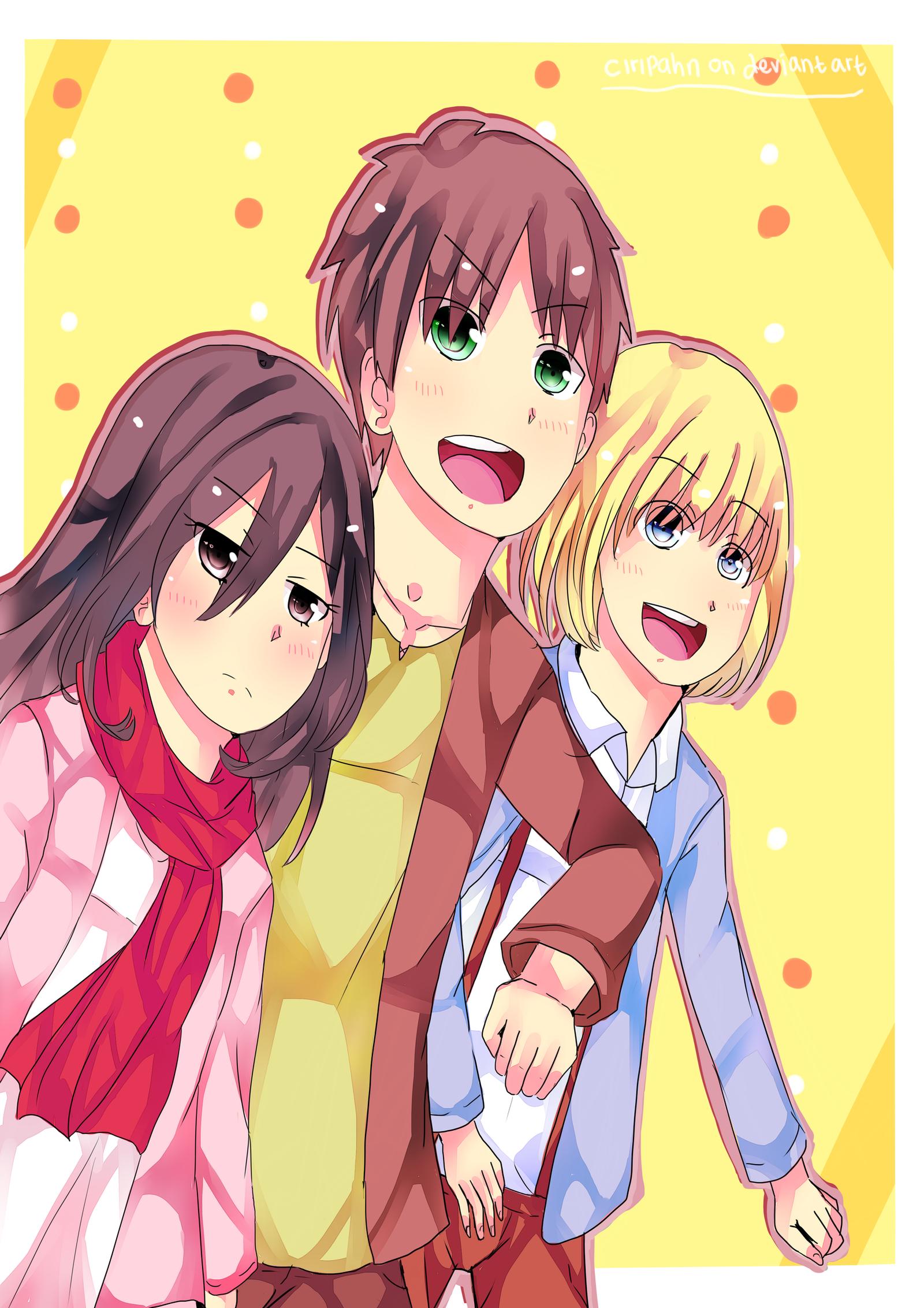 ''-Shingeki No Kyojin=Eren-Mikasa-Armin-'' by ciripahn